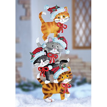 veritical stacked kitty cats whimsical cute festive metal cat wearing santa hats christmas outdoor yard decoration