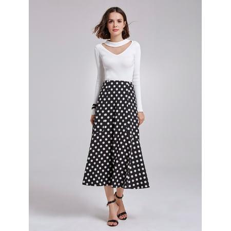 Alisa Pan Women's Vintage Elegant Polka Dot Printed A-line Career Suiting Business Casual Skirt for Women 01145 (Polka Dot Skirt Halloween)