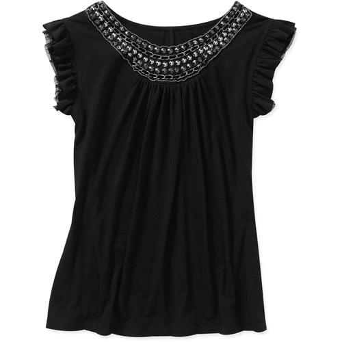 Susie Rose Juniors' Plus Ruffle Sleeve Top w/ Neck Details