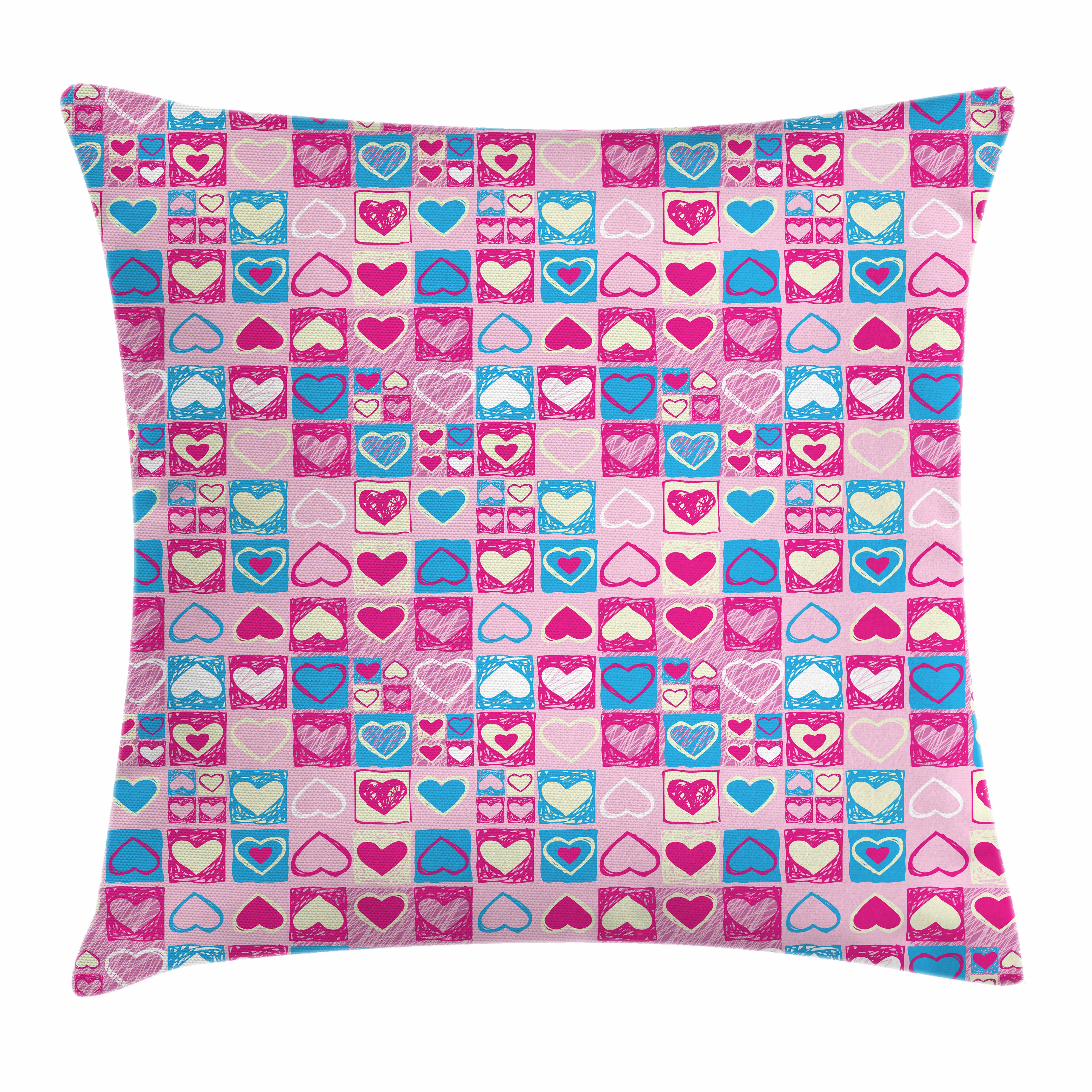 Love Throw Pillow Cushion Cover, Doodle Sketchy Hearts in Squares Artistic Childish Romance Girls Kids Design, Decorative Square Accent Pillow Case, 16 X 16 Inches, Pink Blue Cream, by Ambesonne