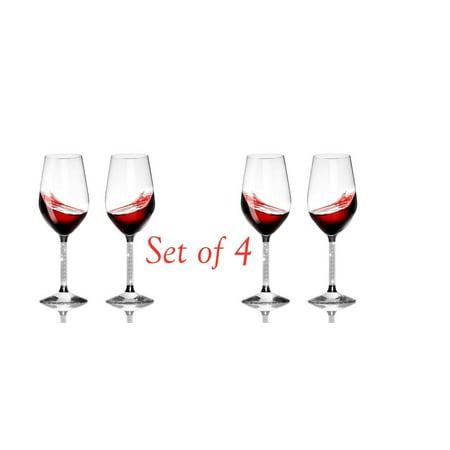 Elegant Wine Glasses Set of 4 (15oz) Stemware with Long Crystal Diamond Stem (White Stemware)