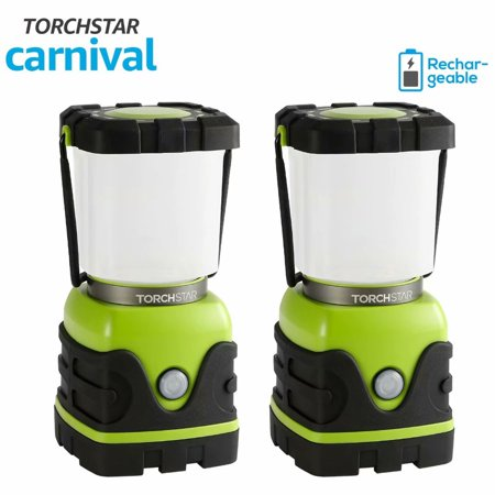 TORCHSTAR 2 Pack Rechargeable LED Camping Light, LED Camping Lantern, LED Emergency Light for Hiking, Fishing, USB Port