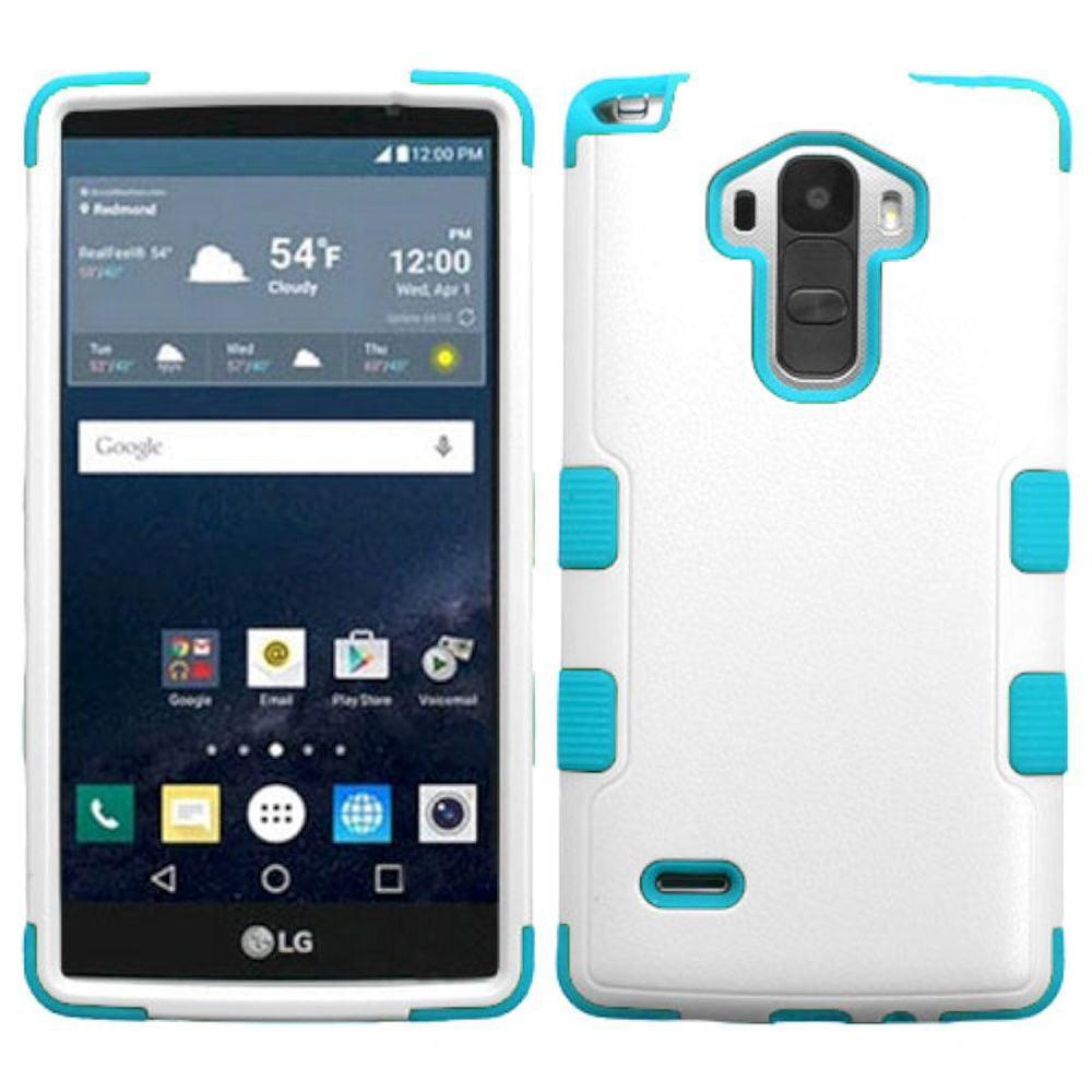 Insten Tuff Hard Dual Layer Rubber Silicone Cover Case For LG G Stylo - White/Blue - image 3 de 3