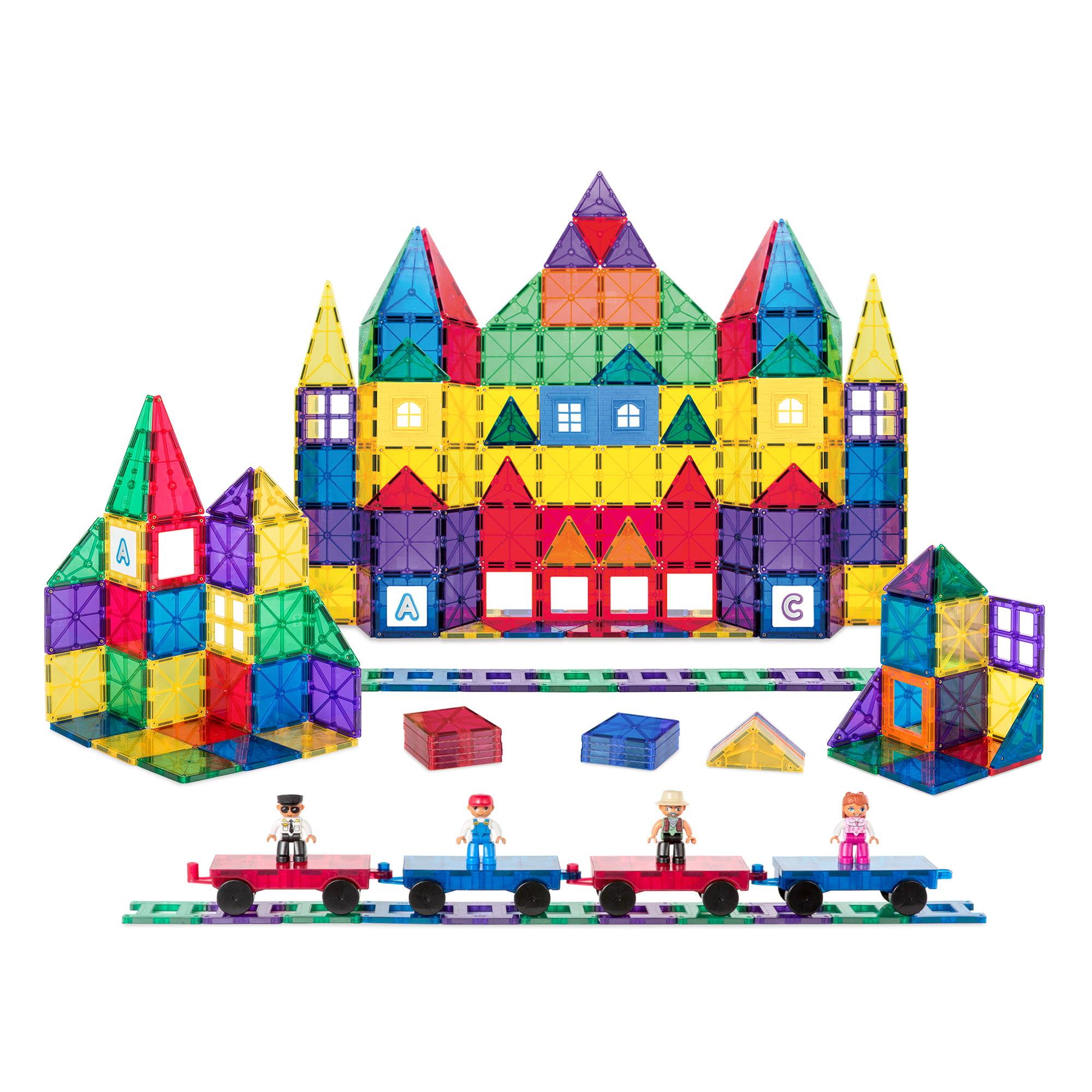 Best Choice Products 250-Piece Kids STEM 3D Magnetic Building Block Tile Toy Play Set w/ 4 Figures, Railroad Accessories - Walmart.com
