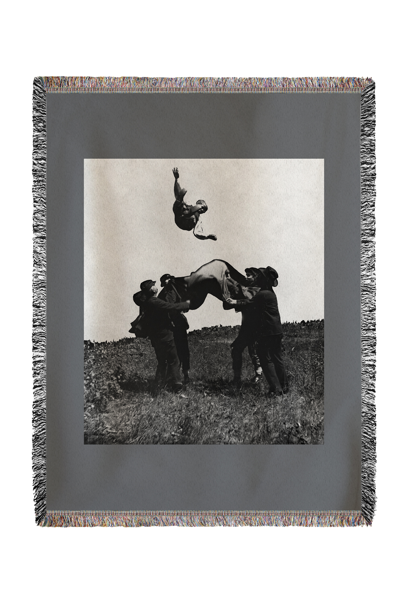 Blanket Toss by Soldiers Civil War Photograph (60x80 Woven Chenille Yarn Blanket) by Lantern Press