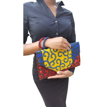 Yellow, Blue, Red African Print Clutch Purse ()