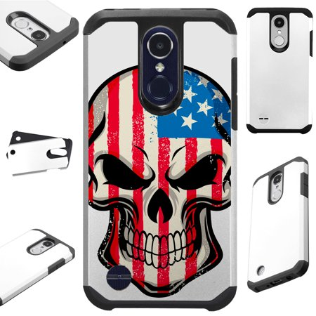 For LG Rebel 4 | LG Rebel 3 Case Hybrid TPU Fusion Phone Cover (US Skull) (Us Reel)