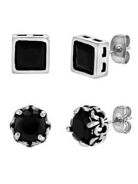 Men's Stainless Steel and Black Glass Stud Earrings, 2-Pair Set