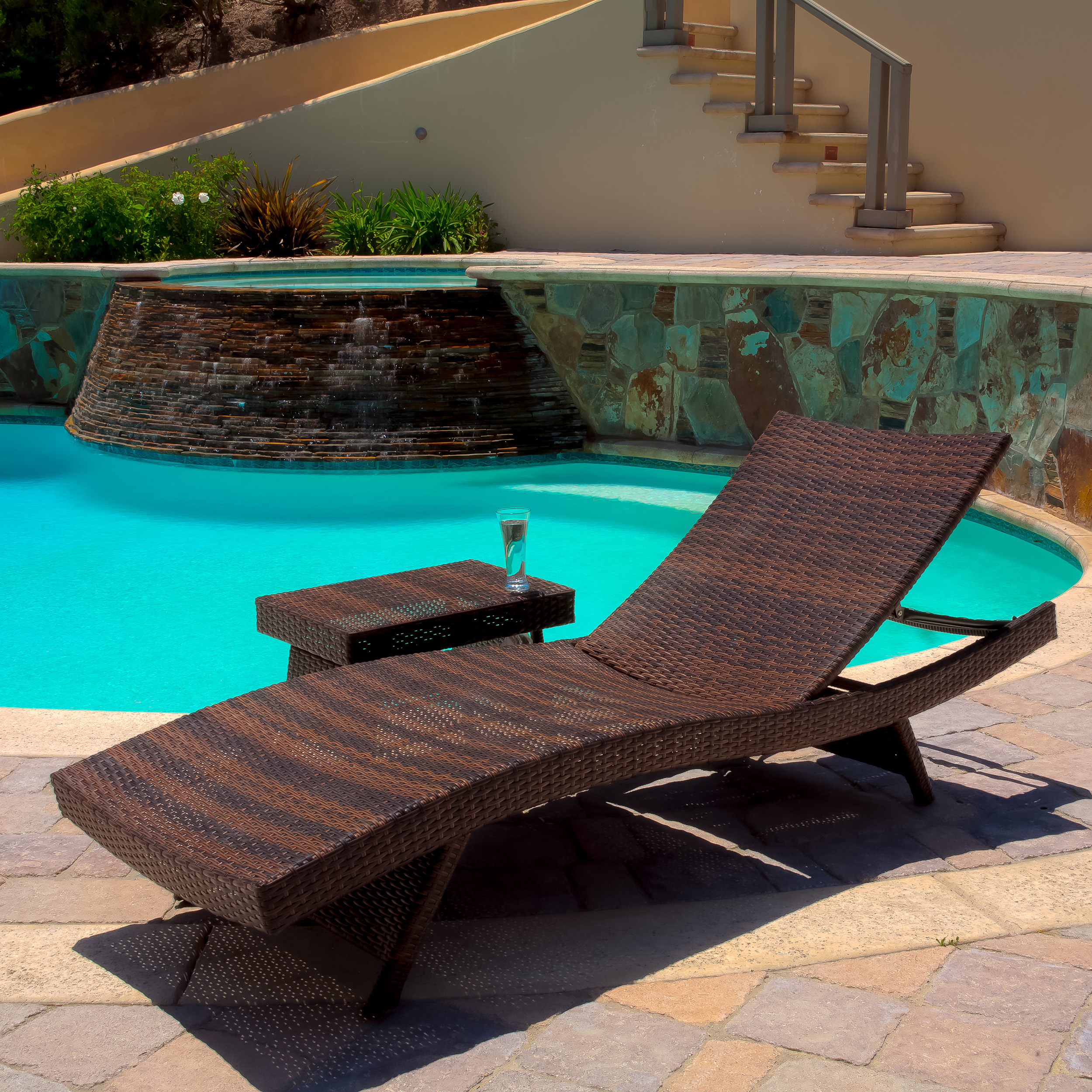 Raleigh Outdoor Wicker Chaise Lounge and Table Set
