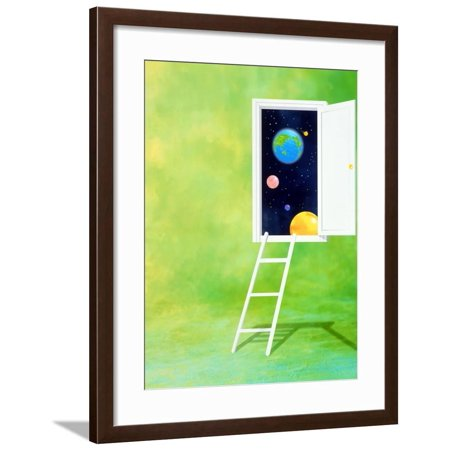 Open White Door with Spheres And White Ladder on Green Background Framed Print Wall Art ()