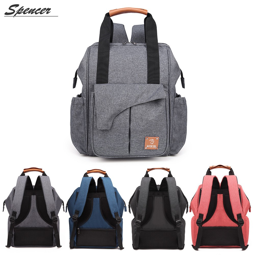 """Spencer Multifunction Mummy Baby Diaper Bag Backpack Large Capacity Computer Nappy Bag for Baby Care """"Black"""""""