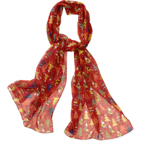 Holiday Christmas Tree Print Wrap Scarf