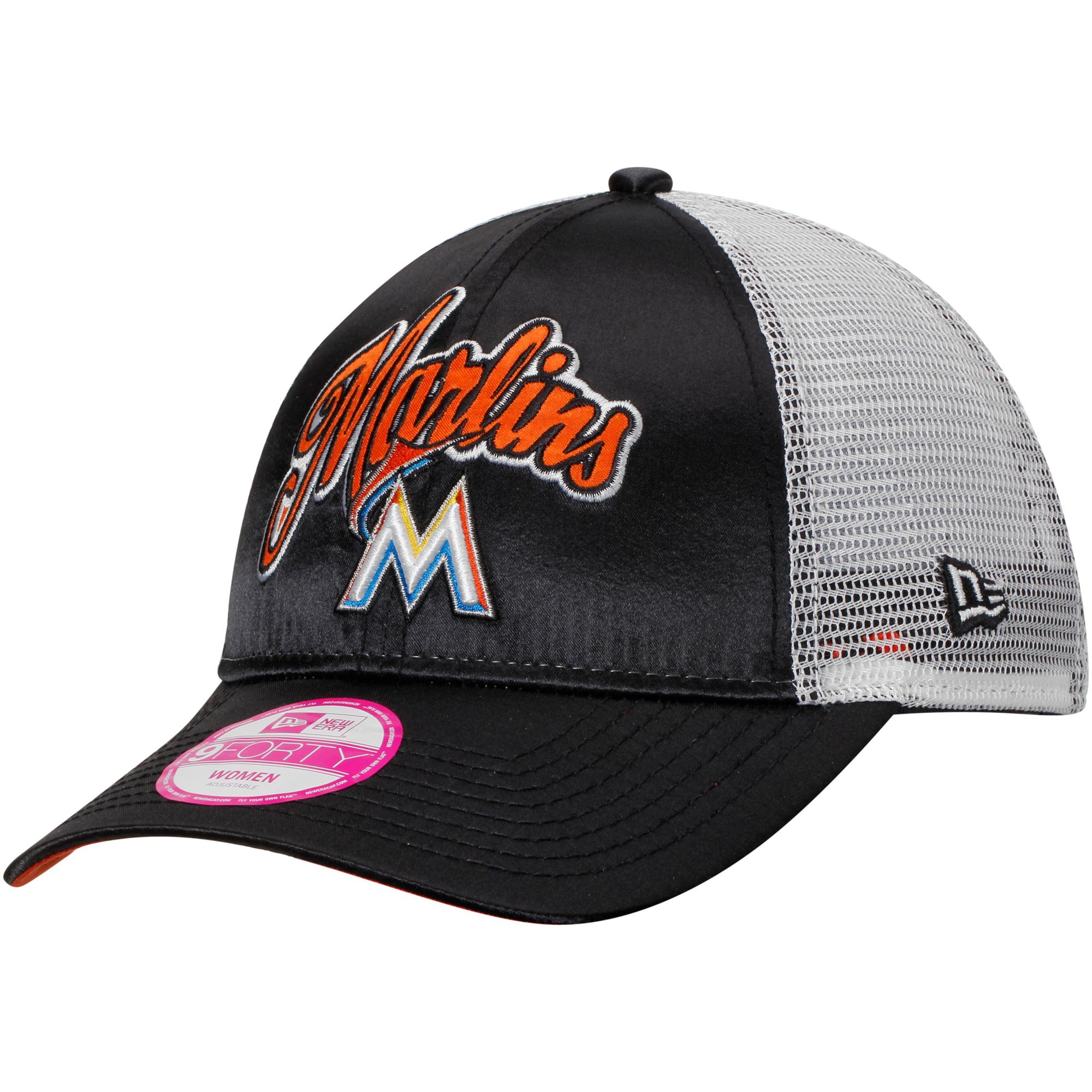 Miami Marlins New Era Women's Scripty Satin Trucker Adjustable Hat - White - OSFA