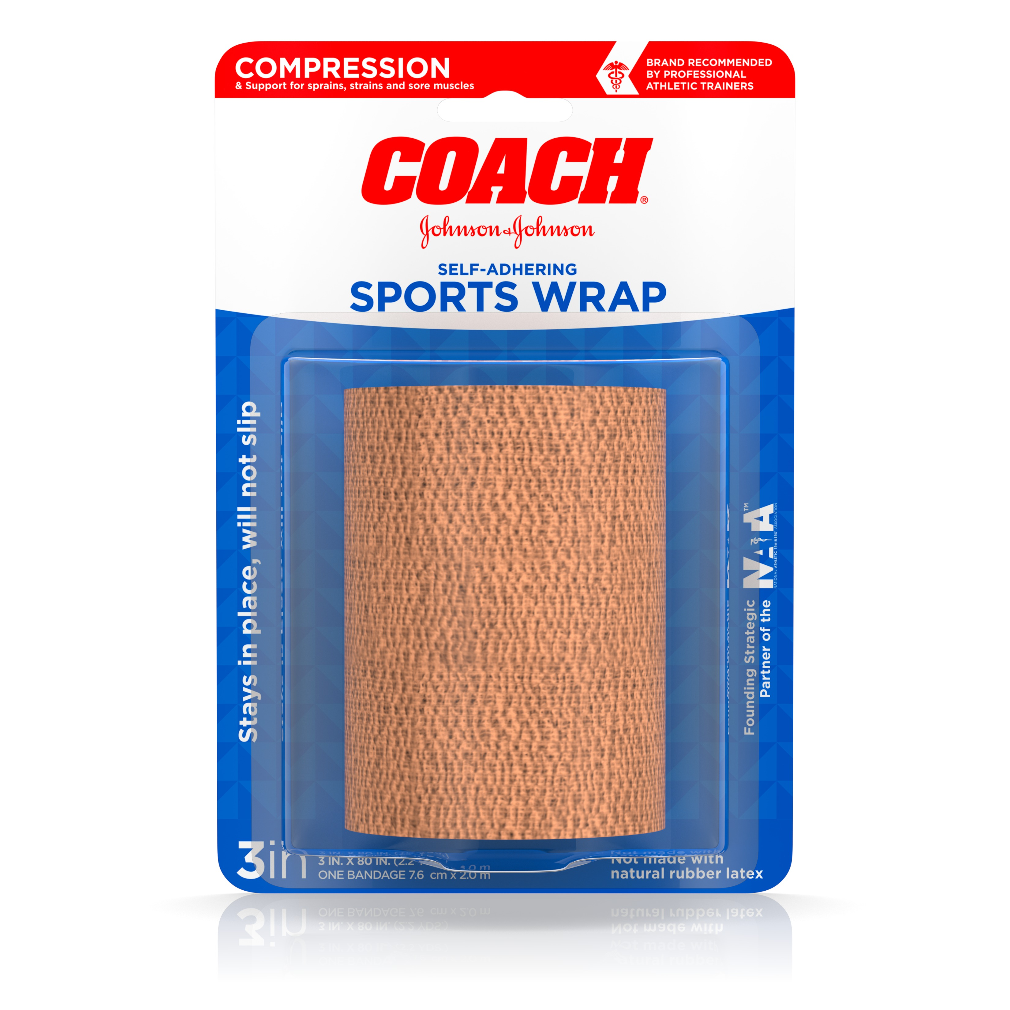 Johnson & Johnson Sports Care Coach Self-Adhering Elastic Bandage, For Support And Compression, 3 Inches By 2.2 Yards