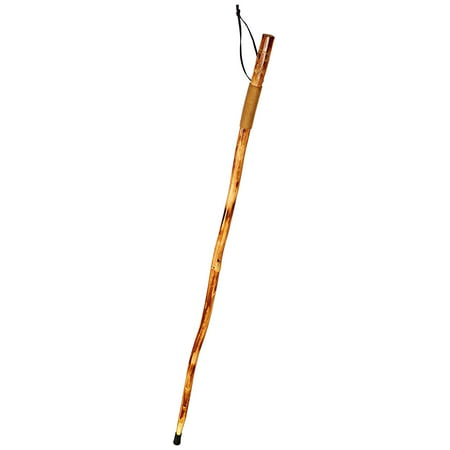 WS626-55RW Natural Wood Walking Stick with Wolf Carving, Rope Wrapped Handle, Steel Spike & Metal-Reinforced Tip Cover, 55
