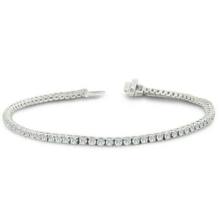 2 Carat Diamond Round Setting Tennis Bracelet in 10 Karat White