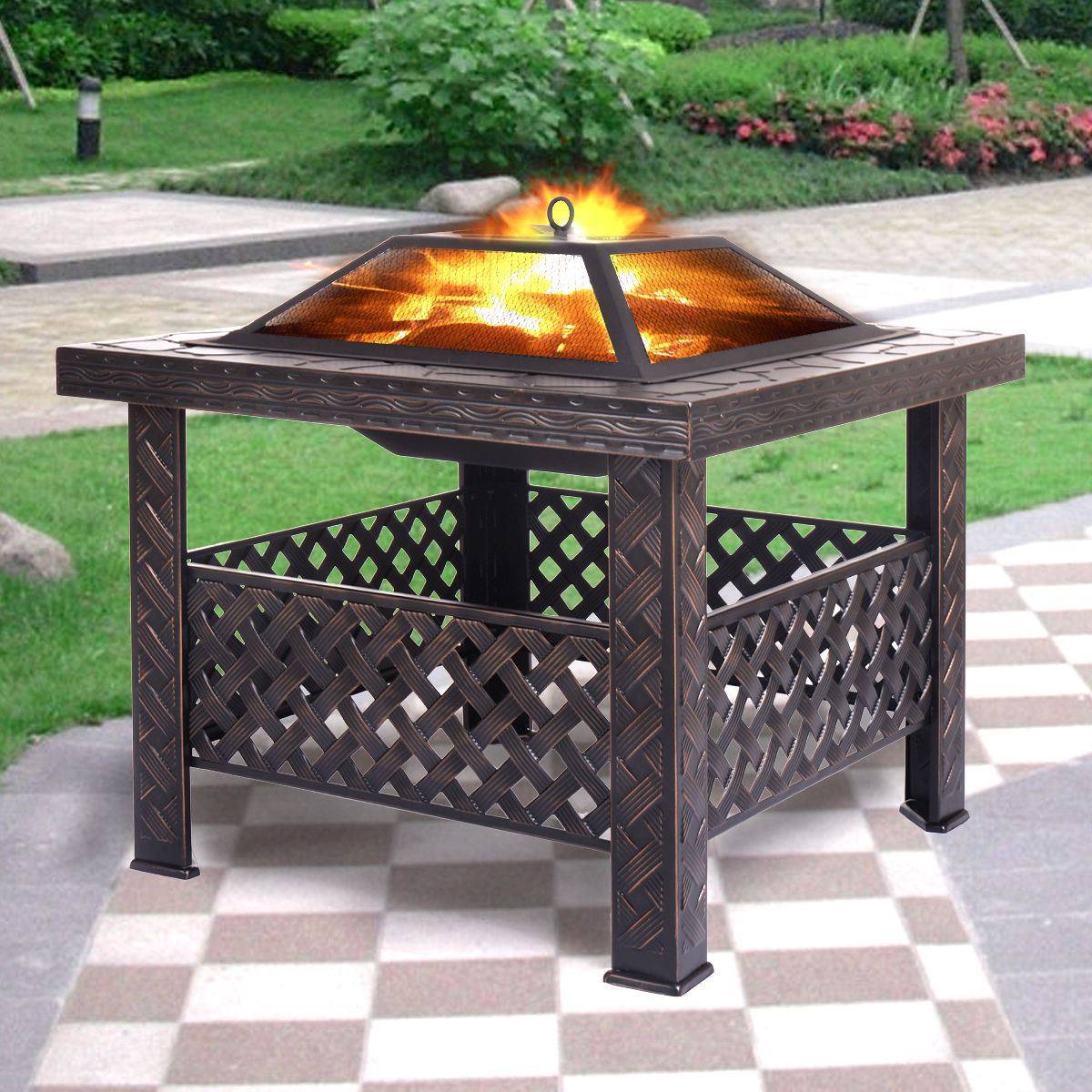 "Outdoor Patio 26"" Metal Firepit Square Stove Firepit Brazier by"