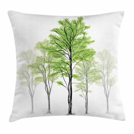 Forest Throw Pillow Cushion Cover, Sketch Style Tree with Green Leaves Abstract Dreamy Springtime Environment, Decorative Square Accent Pillow Case, 18 X 18 Inches, Green Black White, by Ambesonne