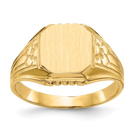 14kt Yellow Gold Signet Band Ring Size 6.00 Fine Jewelry Ideal Gifts For Women Gift Set From Heart
