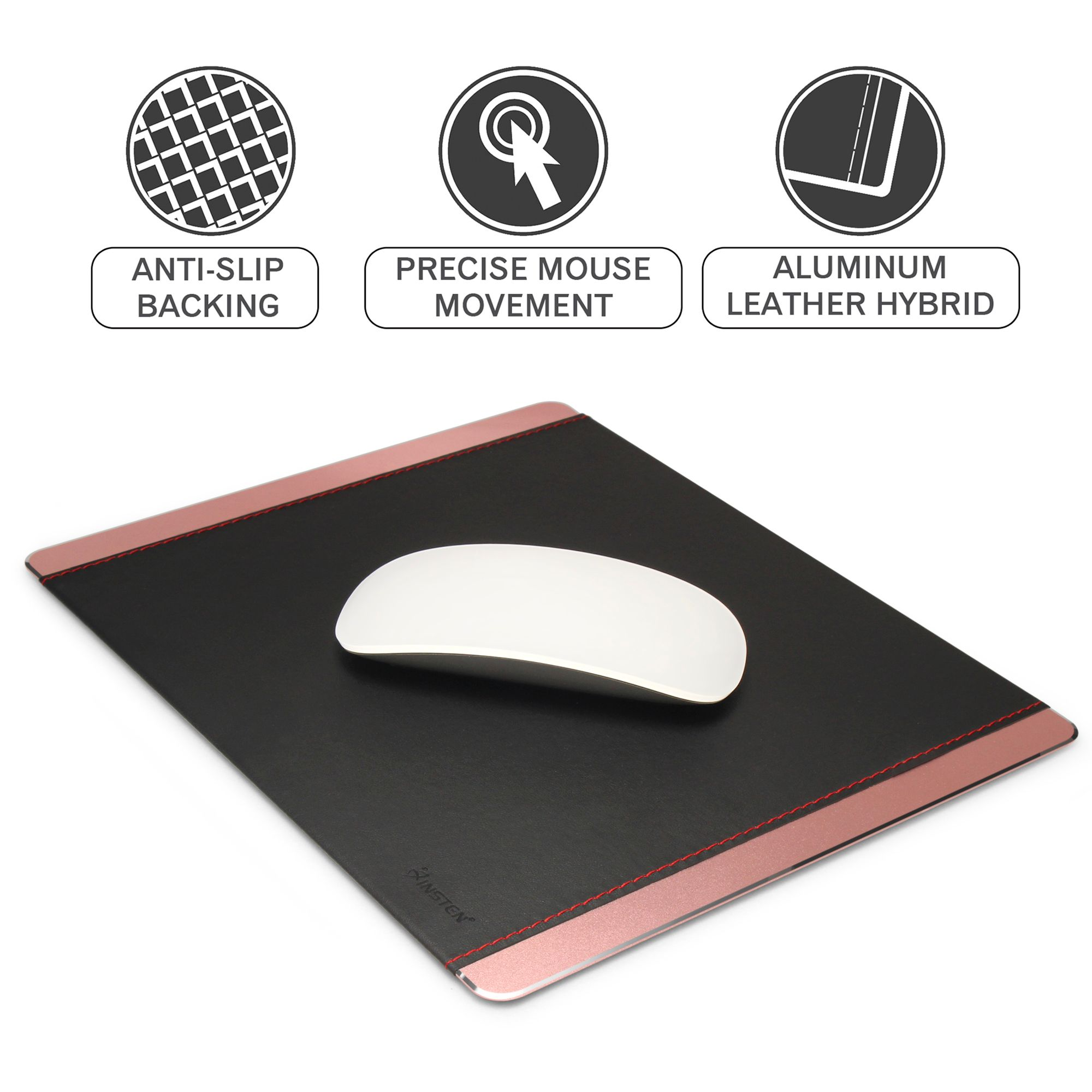 Insten Aluminum w/Leather Strong Durable Mouse Pad 3mm Thick Non-Slip Mice Mat (Size: 24 cm x 20cm) For Laptop PC Gaming - Rose Gold/Black