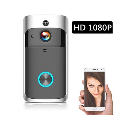 WiFi Smart Wireless Security DoorBell Smart HD 1080P Visual Intercom Recording Video Door Phone Remote Home Monitoring Night Vision (Wifi Doorbell Intercom)
