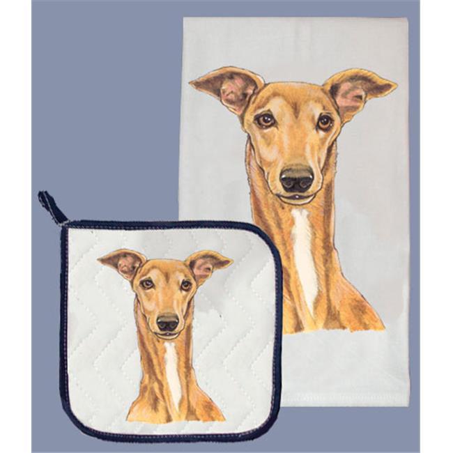 Pipsqueak Productions DP531 Dish Towel and Pot Holder Set - Greyhound Tan