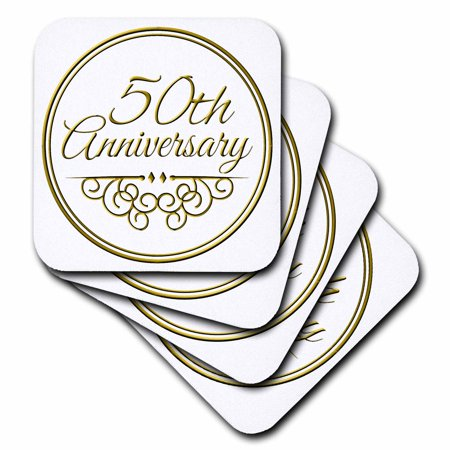 3dRose 50th Anniversary gift - gold text for celebrating wedding anniversaries - 50 years married together, Ceramic Tile Coasters, set of 4