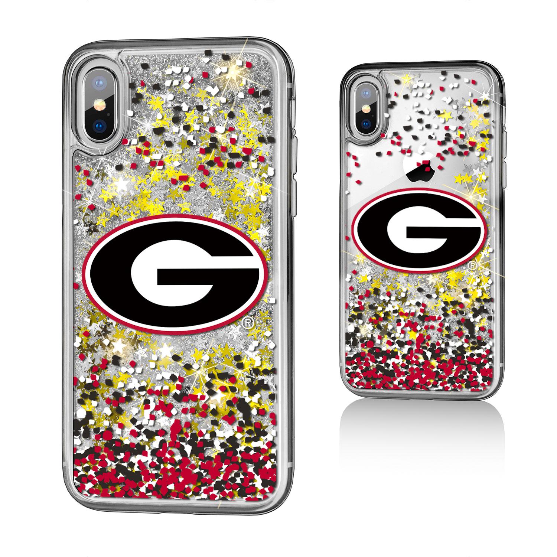 UGA Georgia Bulldogs Confetti Glitter Case for iPhone X
