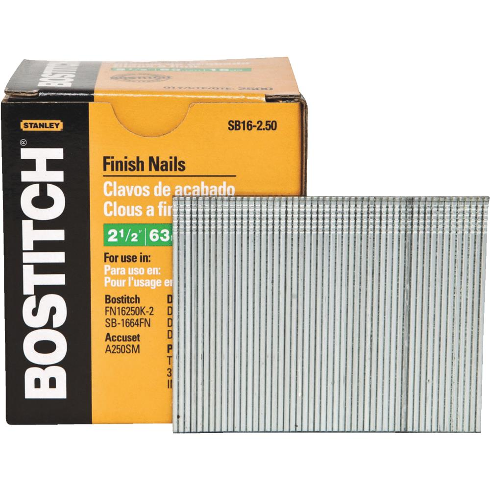 """Bostitch SB16-2.50 2-1/2"""" Coated 16 Gauge Straight Finish Nails 2,500 Count"""