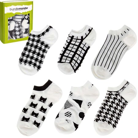 Bundle Monster Womens 6 Pairs Low Cut Mix Style Cotton Blend Socks - One Size Toy Machine Monster Socks