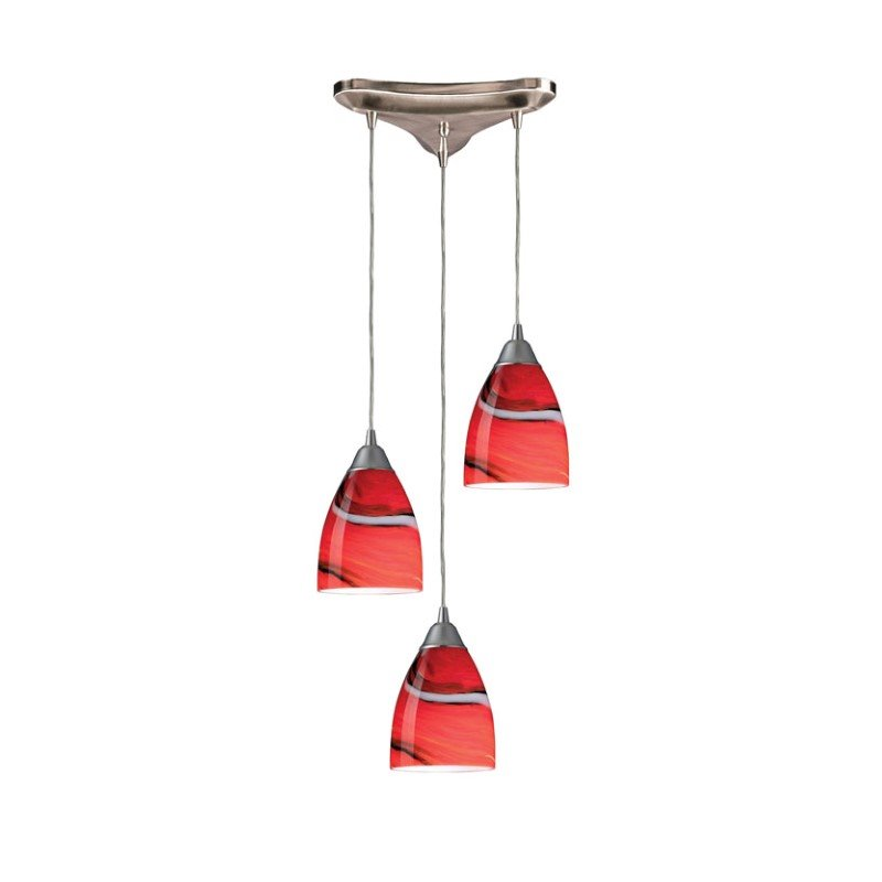 Pierra Pendant-Canopy:3 Lighted Triangle,Shade:Candy