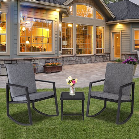 Zimtown 3-Pieces Rocking Rattan Chairs Set Patio Furniture with Glass Coffee Table for Outdoor Garden ()