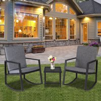 Zimtown 3-Pieces Rocking Rattan Chairs Set Patio Furniture with Glass Coffee Table for Outdoor Garden