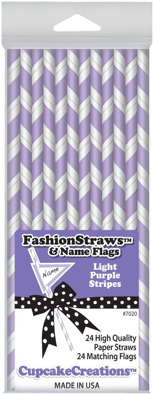 Cupcake Creations 24 Pk 7025 Yellow Stripes Fashion Straws /& Name Flags