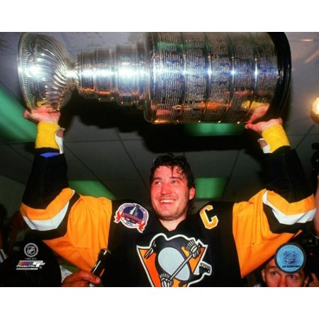- Mario Lemieux 1991 Stanley Cup Finals with Cup Photo Print