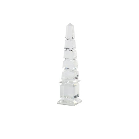 Crystal Obelisk Shaped Table decor Accent, Large, Clear ()