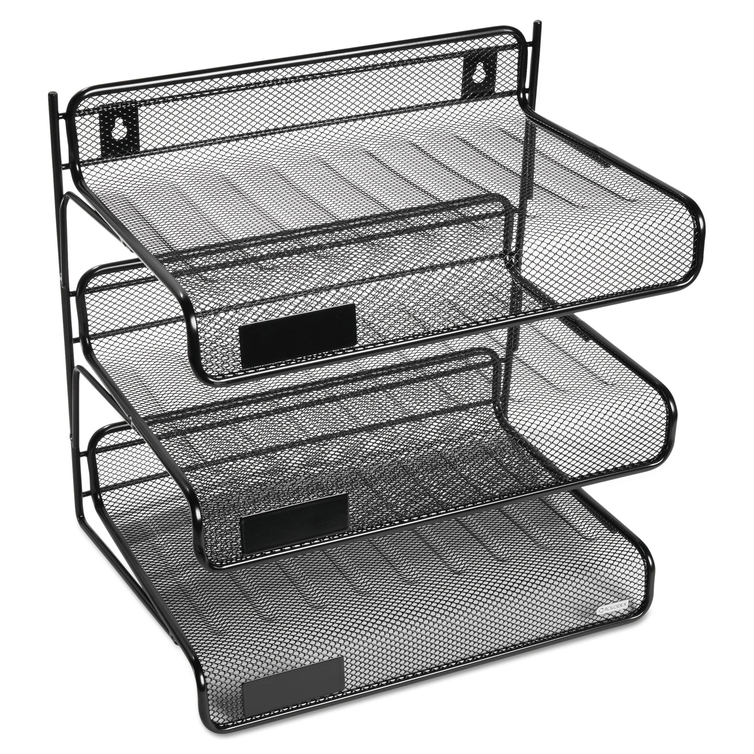 Rolodex Mesh Three-Tier Letter Size Desk Shelf, 10 x 7 x 9 3/8, Black -ROL22341