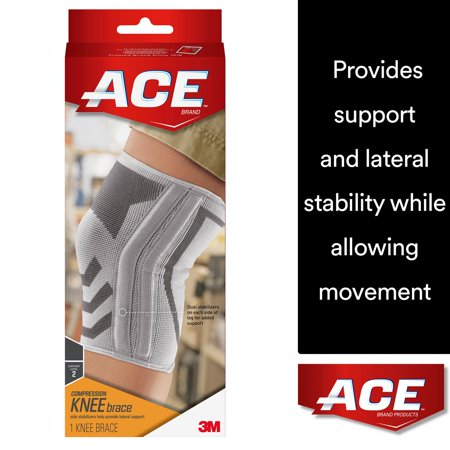 ACE Brand Compression Knee Brace with Side Stabilizers, Medium, White/Gray, (Best Acl Knee Brace For Soccer)