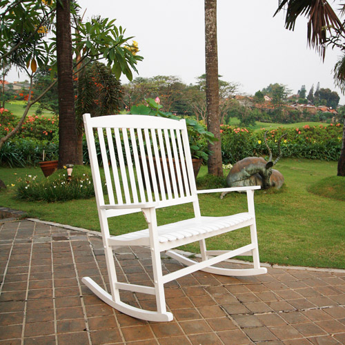 Mainstays Outdoor Double Rocking Chair, White, Seats 2