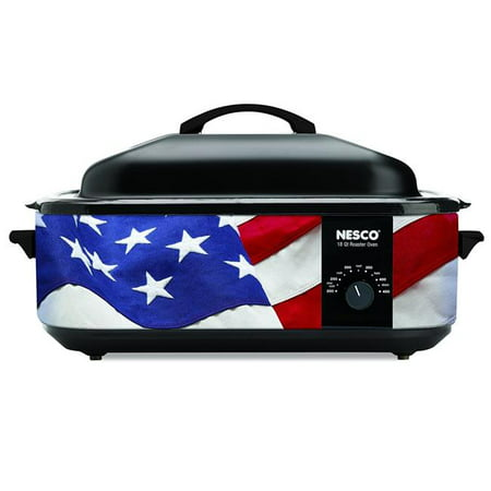 18 qt. Patriotic Roaster Oven with Black Porcelain Cookwell, Nesco Designer Series, Patriotic Roaster