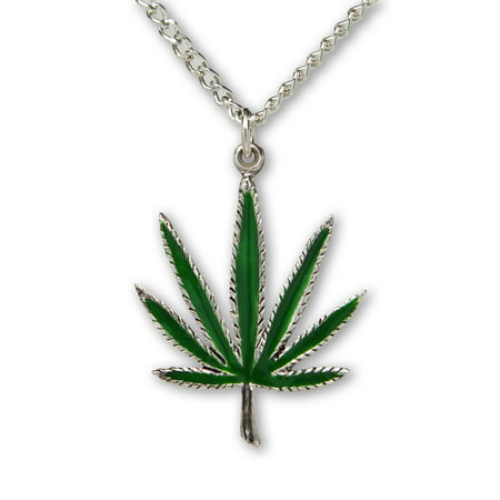 Marijuana Pot Leaf Green Enamel on Silver Finish Pewter Pendant Necklace by Real Metal Jewelry