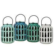 4-Pc Large Porcelain Cylindrical Lantern Set