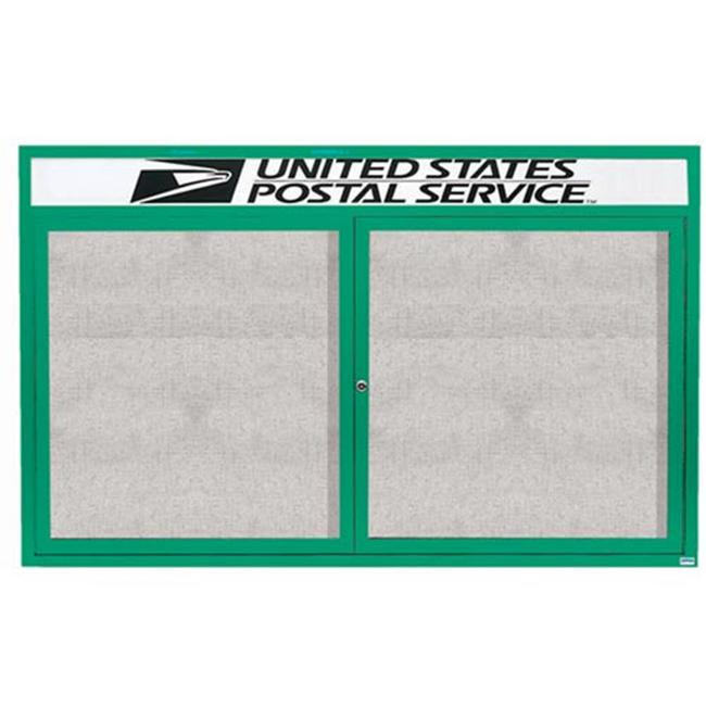 Aarco Products ODCC3672-3RHIG 3-Door Illuminated Outdoor Enclosed Bulletin Board with Header - Green