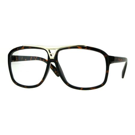 Mens Classic 80s Geeky Nerd Plastic Racer Pilots Eye Glasses Tortoise Gold - Classic Nerd