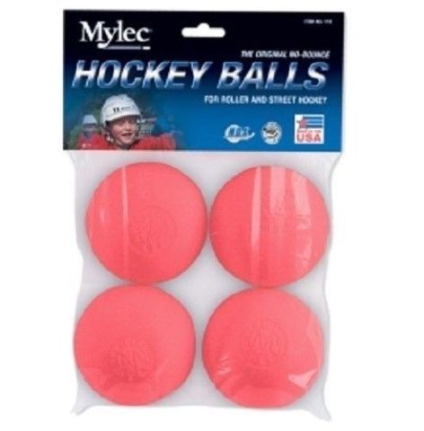 Mylec 4 Pack Roller / Street Floor Hockey Balls, No Bounce, Cool Weather, Pink