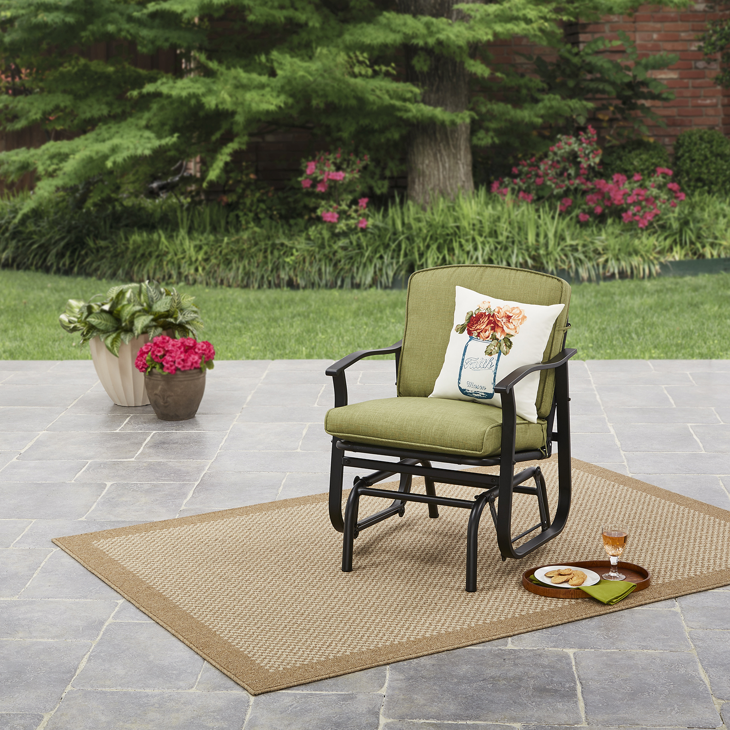 Mainstays Belden Park Outdoor Glider Chair - Green