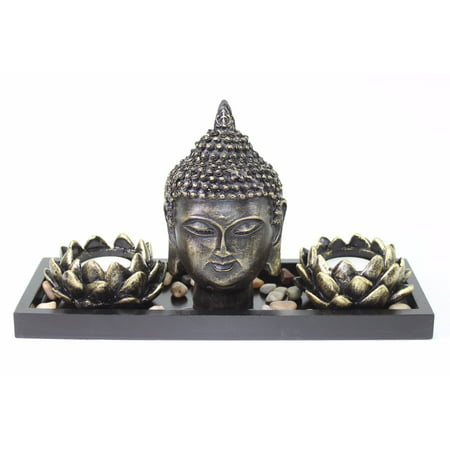 Zen Candle Holder Tray (Tabletop Zen Buddha Lotus Tea Light Candle Holder Home Decor Relaxing Gift New)