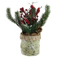 """12"""" Artificial Red Berries Frosted Pine Needles and Twigs Christmas Centerpiece"""