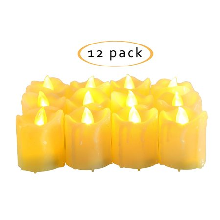 Flameless Votives Bulk (Flameless LED Battery Operated Votive Candles Bright Flickering Electric Fake Decorative Lights Bulk Christmas Party Wedding Décor Decorations Unscented Set of 12 Long Lasting Batteries)