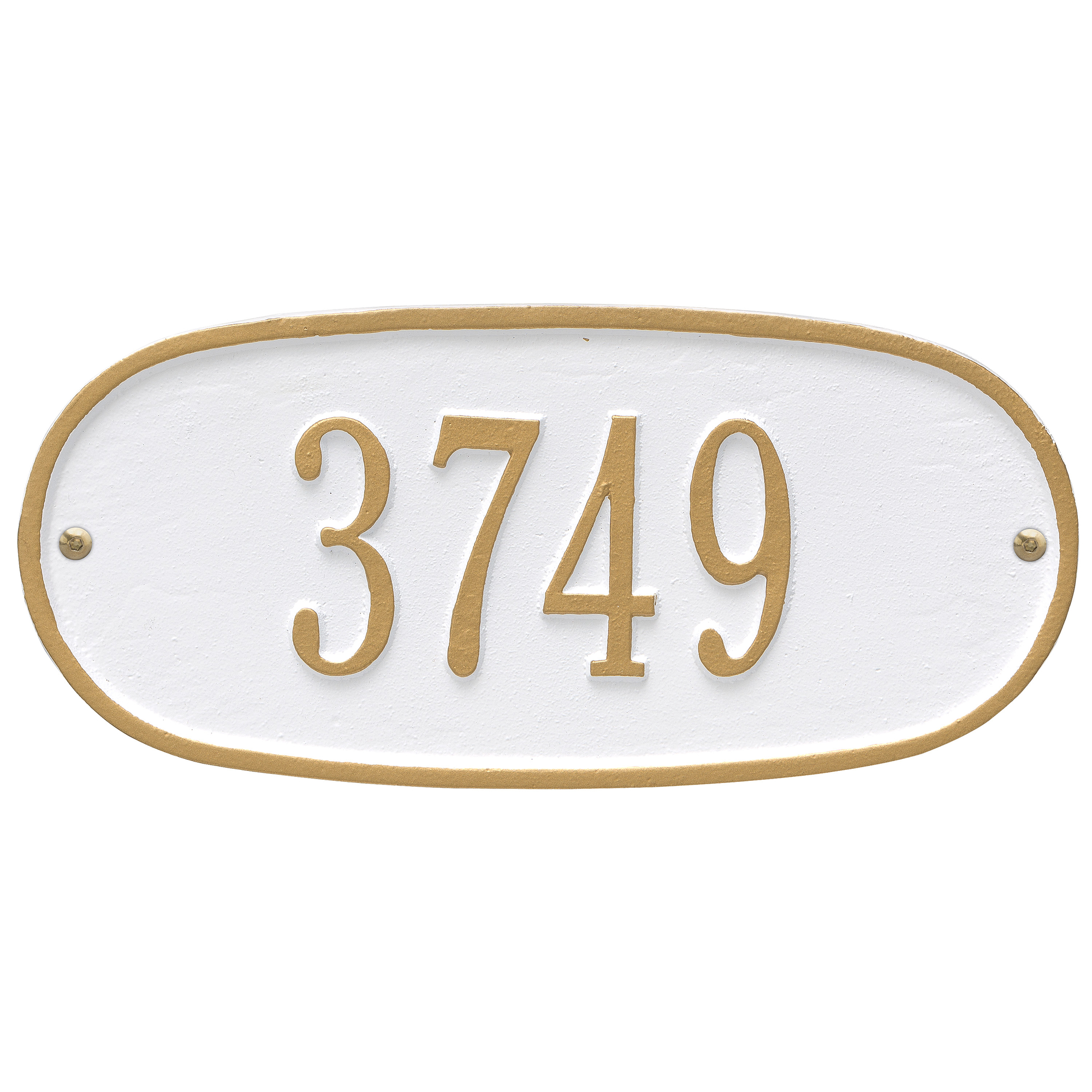 Personalized Whitehall Products Oval 1-Line Standard Wall Plaque in White/Gold